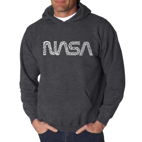 Mens Word Art Hooded Sweatshirt - Worm Nasa - LA Pop Art