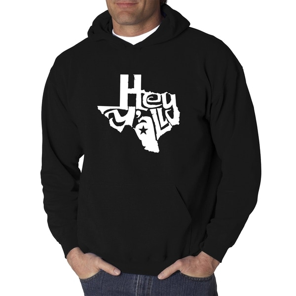 Mens Word Art Hooded Sweatshirt - Hey Yall - LA Pop Art