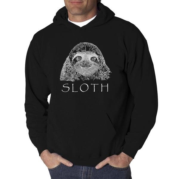 Mens Word Art Hooded Sweatshirt - Sloth - LA Pop Art