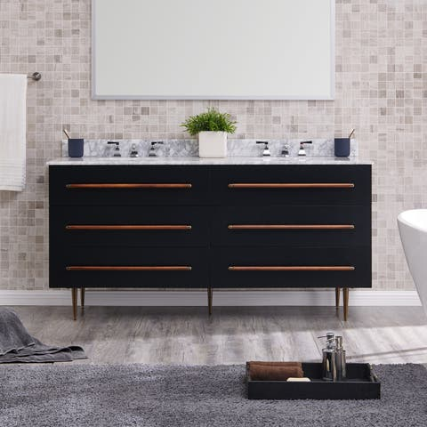 Strick & Bolton Yatesling Modern Black Marble Double Vanity