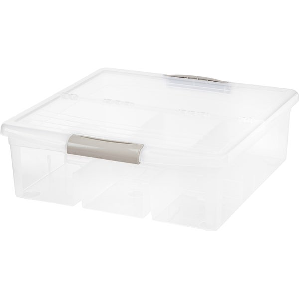 IRIS Large Divided Media Storage Box, Clear. Opens flyout.