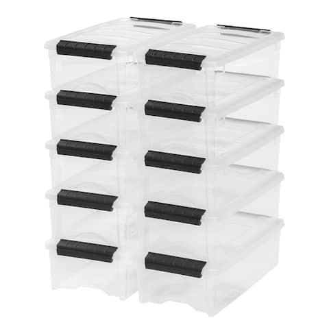 IRIS 5 Quart Stack & Pull Box, 10 Pack, Clear - 5 qt