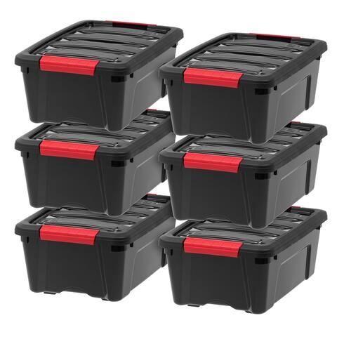 IRIS 12 Quart Stack & Pull Box, 6 Pack, Black