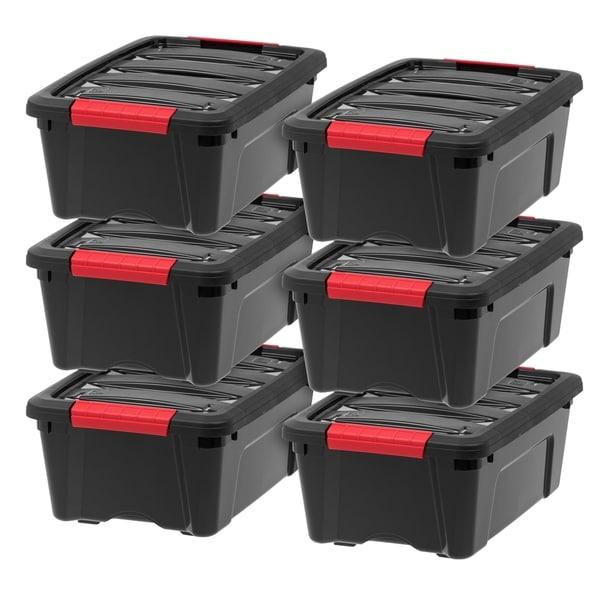 IRIS 12 Quart Stack & Pull™ Box, 6 Pack, Black. Opens flyout.