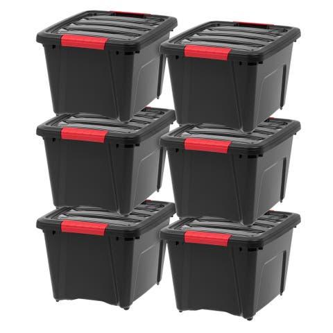IRIS 19 Quart Stack & Pull Box, 6 Pack, Black