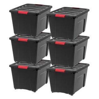 IRIS 53 Quart Stack & Pull Box, 6 Pack, Black