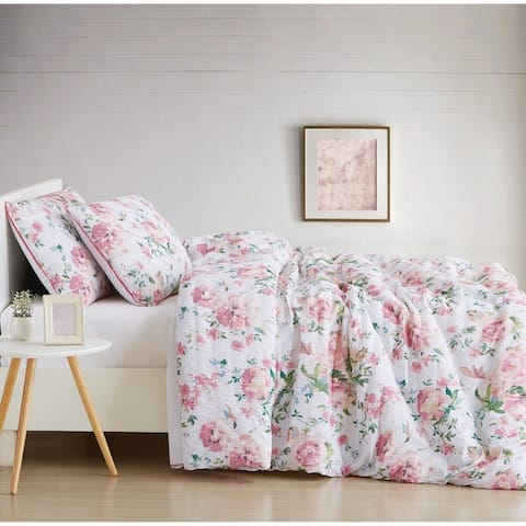 Cottage Classics Blooms Floral Seersucker 3 Piece Duvet Set - Multi