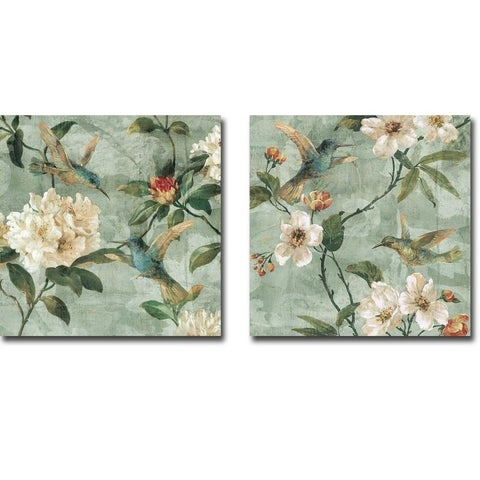 'Birds of a Feather I & II' by Renee Campbell 2-piece Gallery-wrapped Ready-to-hang Canvas Giclee Art Set
