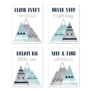 Sweet Jojo Designs Navy Blue, Aqua and Grey Aztec Mountains Collection Wall Decor Art Prints (Set of 4) - Dream Big Adventure