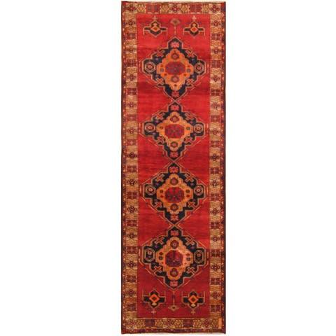 Handmade One-of-a-Kind Hamadan Wool Rug (Iran) - 3'7 x 11'3
