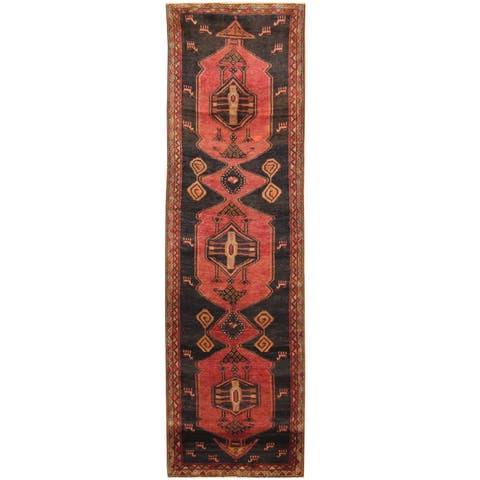 Herat Oriental Persian Hand-knotted Tribal Hamadan Wool Runner Rug - 3'7 x 12'6