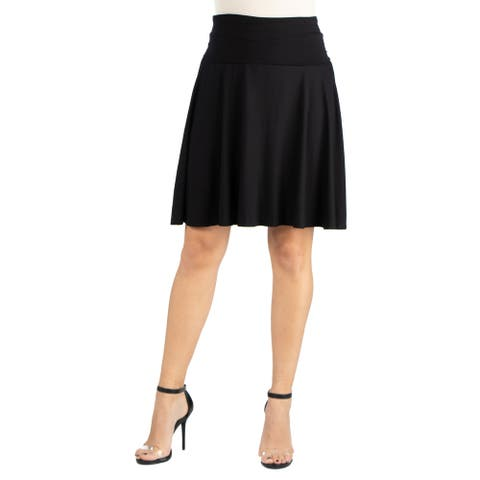 24seven Comfort Apparel Womens Foldover Knee Length Skirt