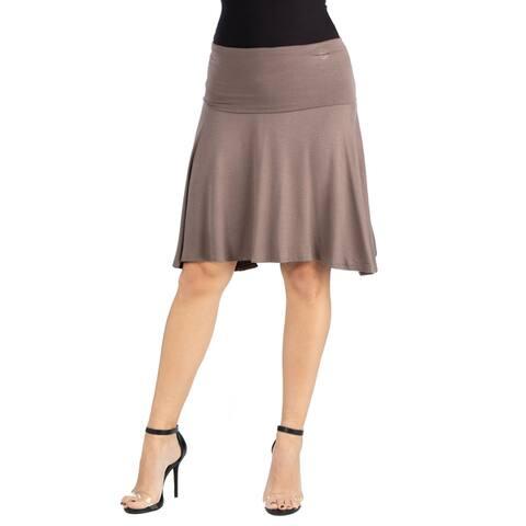 24seven Comfort Apparel Womens Foldover Knee Length Skirt