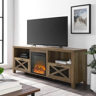 "The Gray Barn 70"" Rustic Fireplace TV Stand Console"