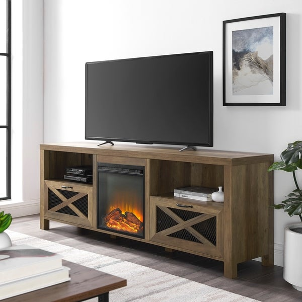 """The Gray Barn 70"""" Rustic Fireplace TV Stand Console"""