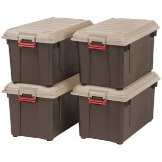 IRIS 82 Quart Weathertight Storage Box, Store-It-All Utility Tote, 4 Pack, Brown - 82 qt