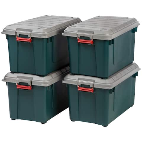 IRIS 82 Quart Weathertight Storage Box, Store-It-All Utility Tote, 4 Pack, Green
