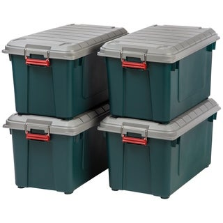 Link to IRIS 82 Quart Weathertight Storage Box, Store-It-All Utility Tote, 4 Pack, Green Similar Items in Filing Storage & Accessories