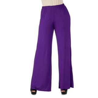 Link to 24seven Comfort Apparel Womens Elastic Waist Flared Leg Palazzo Pants Similar Items in Pants