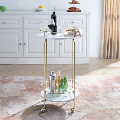 """Silver Orchid 36"""" Tall Modern Faux Marble Bar Cart - N/A"""