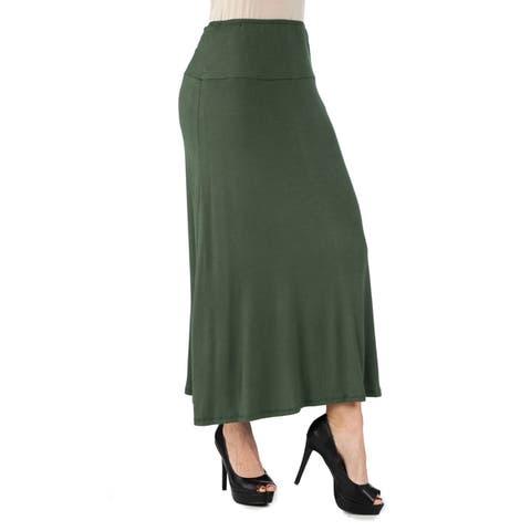 24seven Comfort Apparel Comfortable Fit Elastic Waist Maxi Skirt