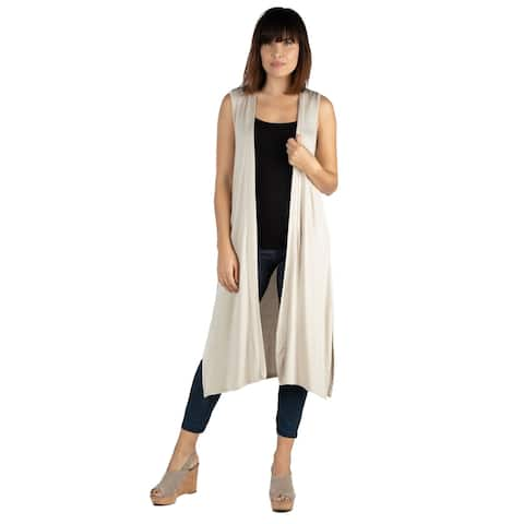 24seven Comfort Apparel Womens Long Sleeveless Cardigan Shrug