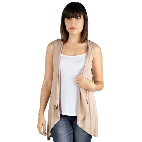 24seven Comfort Apparel Sleeveless Open Front Cardigan Vest