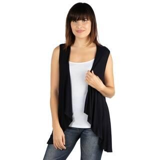 24seven Comfort Apparel Sleeveless Open Front Cardigan Vest