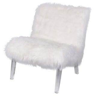 Prudence White Faux Fur Acrylic Chair