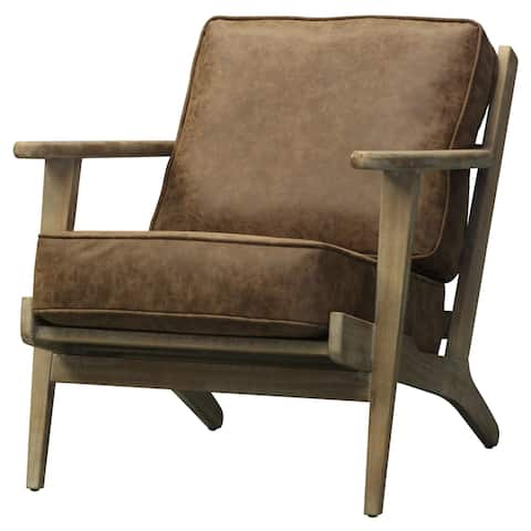 Albert Brown Faux Leather/Wood Accent Chair