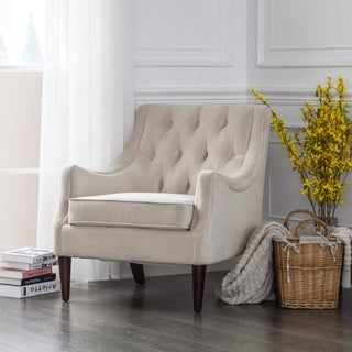 Link to Copper Grove Alsfeld Beige Velvet Tufted Accent Chair Similar Items in Living Room Chairs