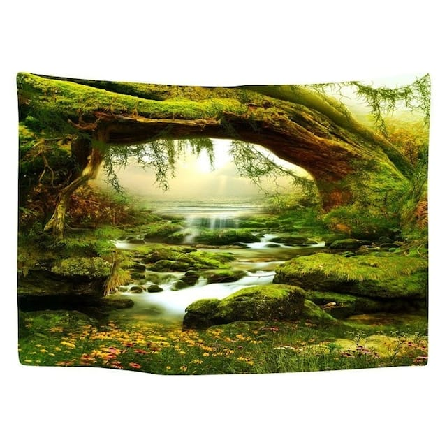 Tapestry Art Mystic Trees and River Print Tapestry Wall Hanging Decor Home Room Tapestry - 150*100