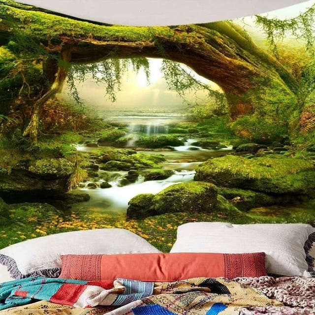 Tapestry Art Mystic Trees and River Print Tapestry Wall Hanging Decor Home Room Tapestry - 200*150