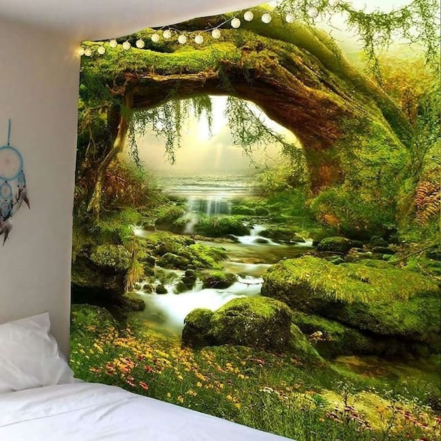 Tapestry Art Mystic Trees and River Print Tapestry Wall Hanging Decor Home Room Tapestry - 230*150