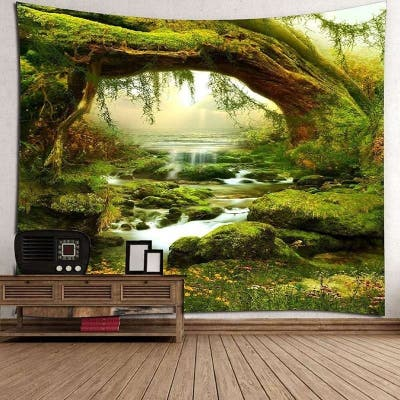 Tapestry Art Mystic Trees and River Print Tapestry Wall Hanging Decor Home Room Tapestry