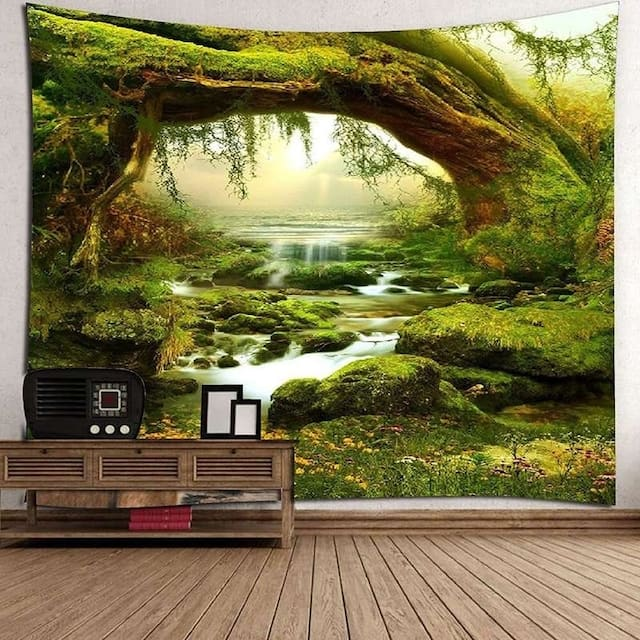Tapestry Art Mystic Trees and River Print Tapestry Wall Hanging Decor Home Room Tapestry - 150*130