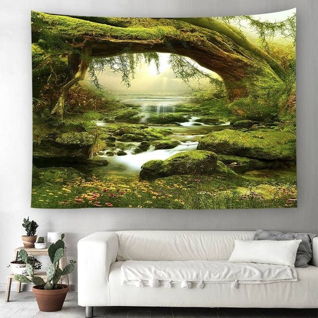 Tapestry Art Mystic Trees and River Print Tapestry Wall Hanging Decor Home Room Tapestry - 150*150