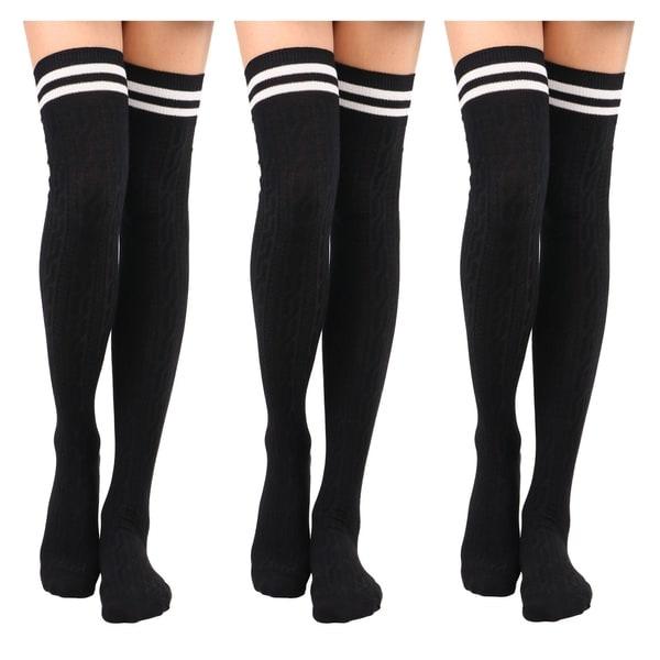 Fit Shoes Sizes 6-12 Knee High Tube Socks 2 PR  White /& Hot Pink Stripes