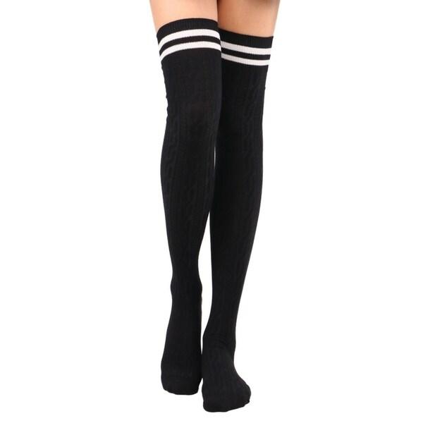 9ece4eefa Shop Tube Socks Women s Thigh High Cable Knit Striped Winter Socks ...
