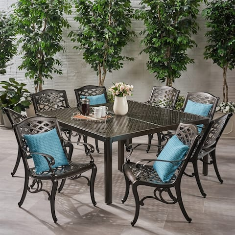 Fairwind Outdoor 8-seat Aluminum Dining Set by Christopher Knight Home