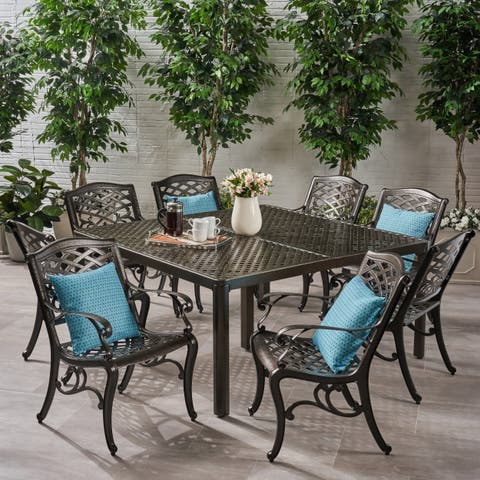 Fairwind Outdoor 8 Seater Aluminum Dining Set by Christopher Knight Home