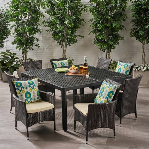 Bragdon Outdoor 8 Seater Aluminum and Wicker Dining Set by Christopher Knight Home