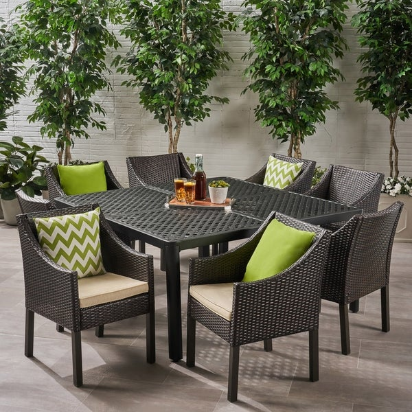 Barnwell Outdoor 8 Seater Aluminum and Wicker Dining Set by Christopher Knight Home