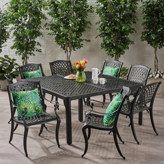 Aviary Outdoor 8 Seater Aluminum Dining Set by Christopher Knight Home