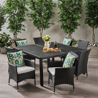 Brevard Outdoor 8 Seater Aluminum and Wicker Dining Set by Christopher Knight Home