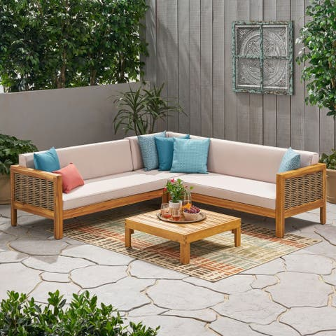 Linwood Outdoor 5 Seater Wood and Wicker Sectional Sofa and Coffee Table Set by Christopher Knight Home