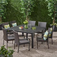 Bullpond Outdoor Aluminum and Wicker 8 Seater Dining Set with Stacking Chairs by Christopher Knight Home
