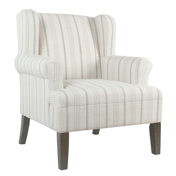 Shop Stripped Pattern Fabric Upholstered Wooden Accent