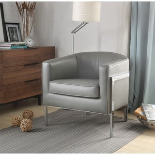 Faux Leather Upholstered Wooden Accent Chair with Metal Legs, Gray and Silver
