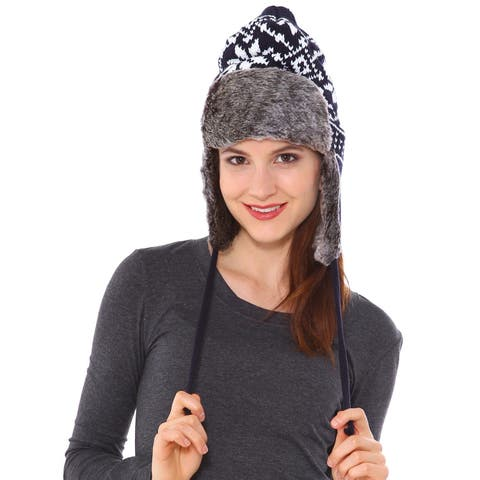 Womens Faux Fur Knitted Aviator Pilot Hat for Winter, Navy